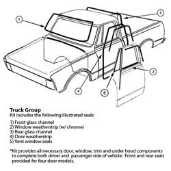 1981 - 1987 Chevy & GMC Pick Up Truck Weatherseal Kit